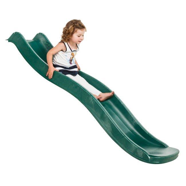 0.9m High Children's Playground Garden Slide In Green For Mounting Onto A Platform By KBT