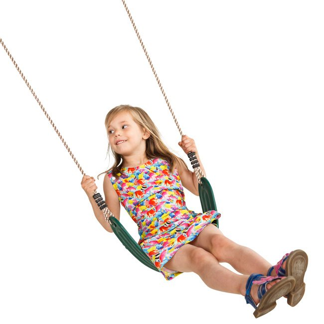 Green Wrap Around Swing Seat Complete With Adjustable Ropes For A Children's Garden Swing
