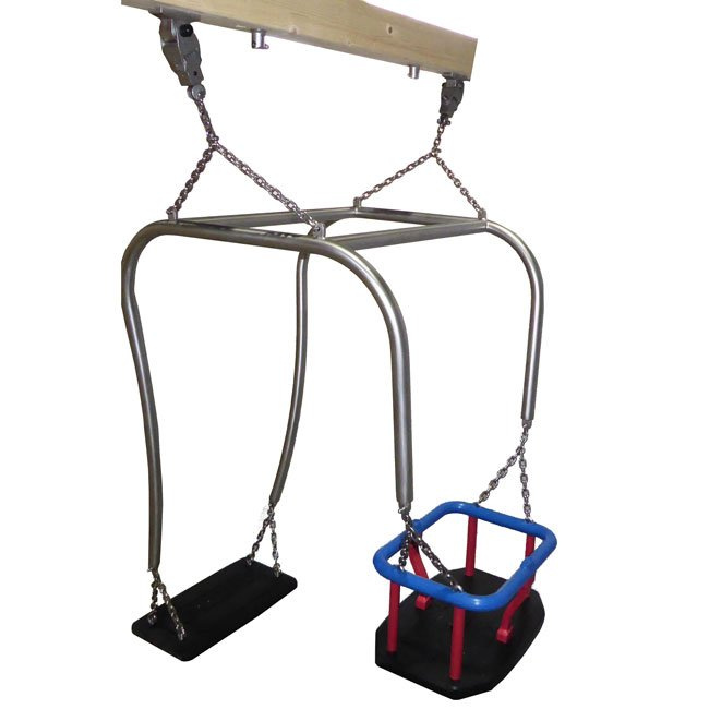 Toddler And Parent Stainless Steel Swing Frame  Including Flat Seat, Toddler Seat and Suspension Chains.