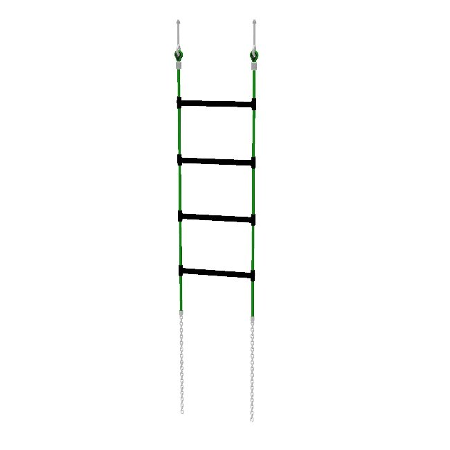 Climbing ladder with chain foundation anchors suitable for attaching to a play structure.