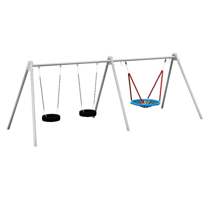 Double Bay 2 Seat Tyre and Nest Steel Swing