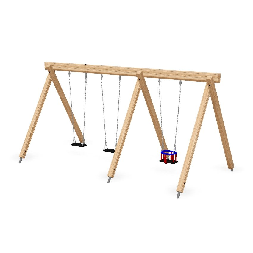 Double Bay Wooden Combination Junior and Toddler Swing