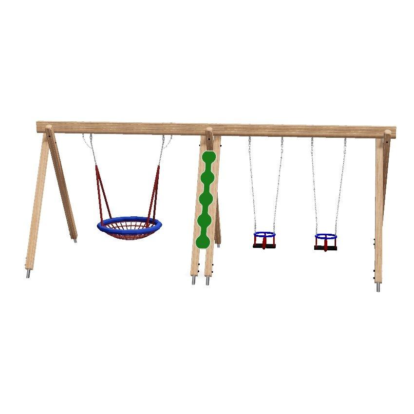 Double Bay Wooden Combination Birds Nest & Cradle Seat Swing
