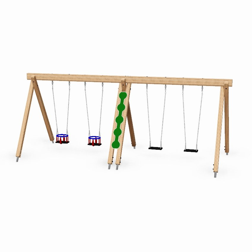 Double Bay Toddler and Junior Wooden Swing