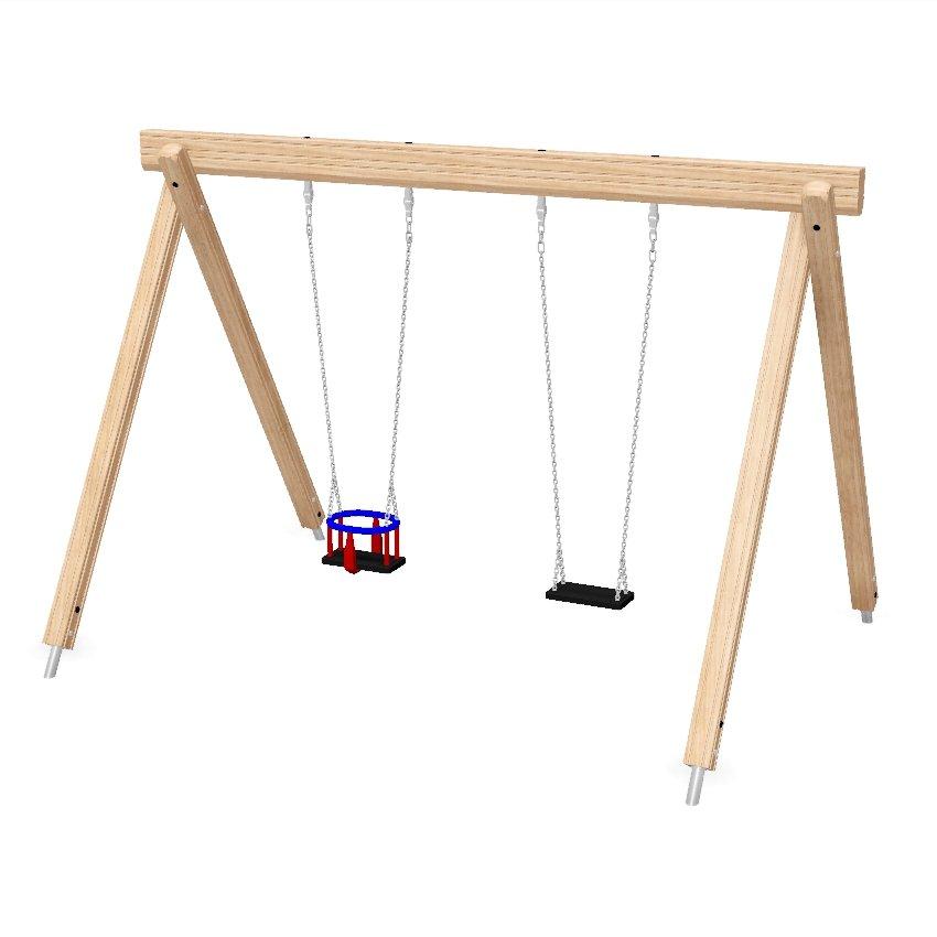 Single Bay Double Combination Wooden Swing