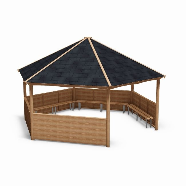 Outdoor Classroom Shelters in Natural Wood with Shingle Roof