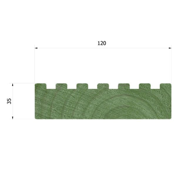 35mm x 120mm Planed and Treated Decking Suitable For Building And Maintaining Playground Equipment