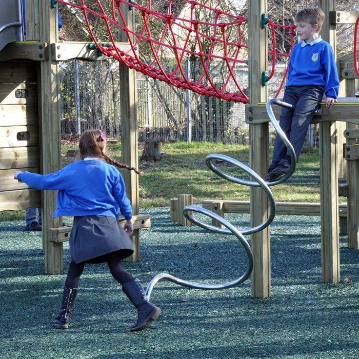 Spiral Climbing Tube in Stainless Steel for Children's Play Tower