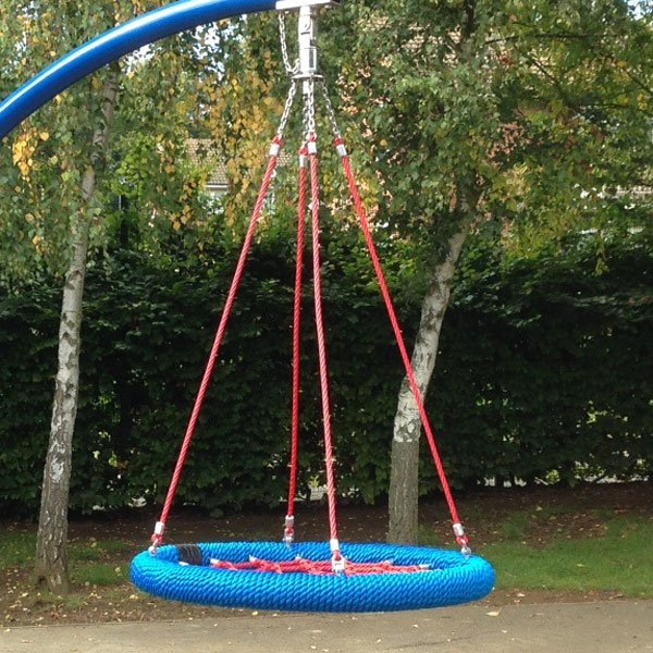 Bird Nest Basket Style Childrens Group Swing Seat With Four Steelcore Rope And Stainless Steel Suspensions.