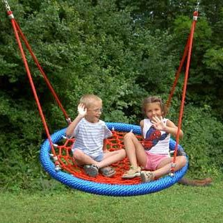 Birds Nest Basket Style Children's Group Swing Seat 1.0m  or 1.20m Diameter With Two Point Rope And Stainless Steel Tail Suspension