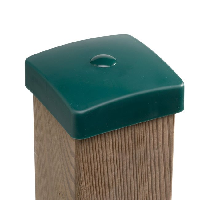 Green Plastic Wooden Post Protection Cover Caps With Fixing Hole To Suit Both Round And Square Timbers