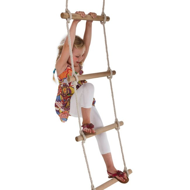 Climbing Rope Ladder With Wooden Rungs For Children's Climbing Frame In Various Lengths