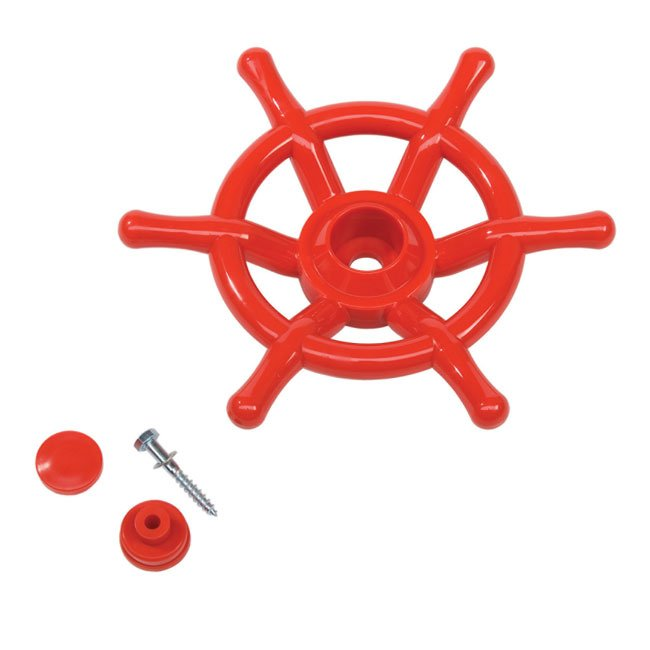 Large Red Ships Wheel Including Fixings For Mounting On Any Garden Play Structure