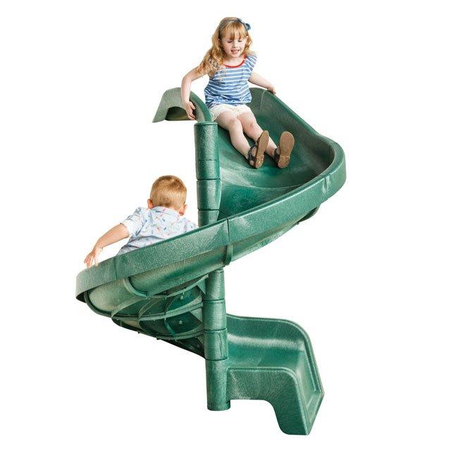 1.5m High Children's Playground Garden Spiral Slide In Green For Mounting Onto A Platform By KBT