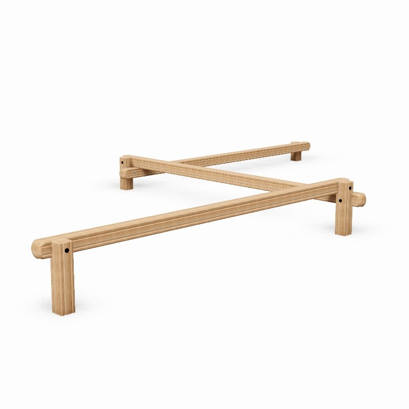 Triple Balance Beam Outdoor Fitness Station In Laminated Safalog With Exercise Instruction Sign