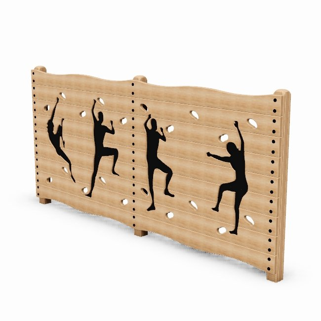 Traversing Wall Outdoor Fitness Station In Laminated Safalog With Exercise Instruction Sign