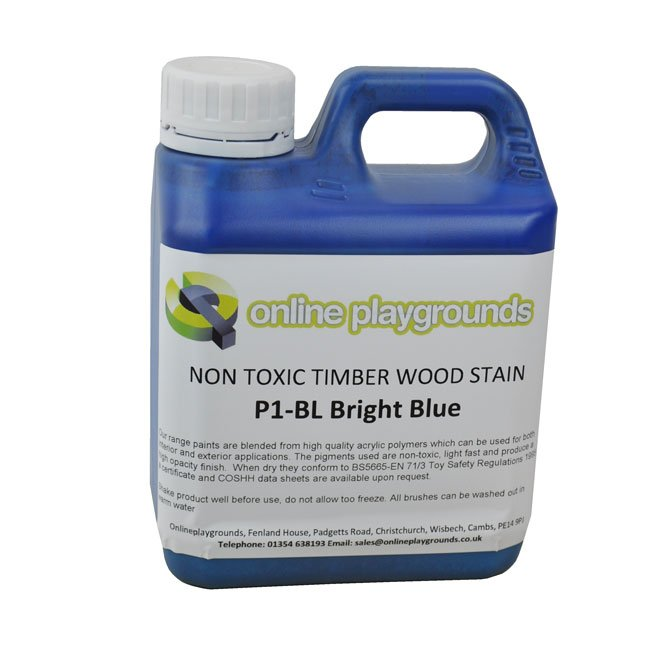 Bright Coloured Non Toxic Water Based Stain Suitable For Staining Wooden Children's Playground Structures.