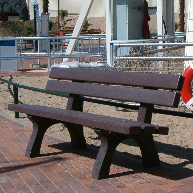 Adult Bench Surface Mounted In Recycled Brown Plastic - Dereham