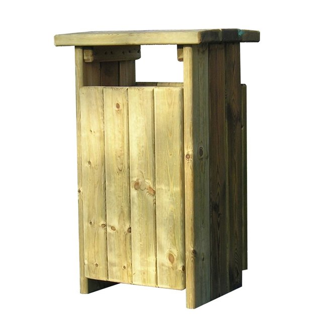 Westminster Square Natural Pressure Treated Wooden Litter Bin For Public Areas And Parks
