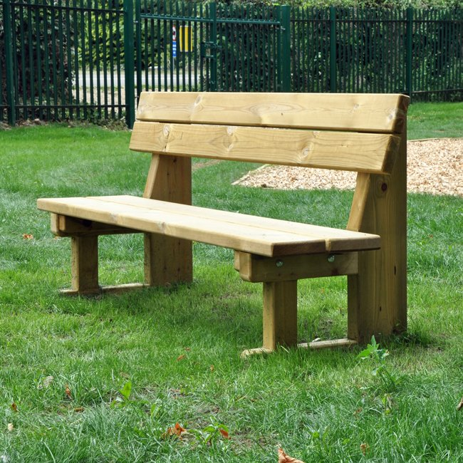 Natural Wooden Park Bench Manufactured From Hand Selected Machined And Pressure Treated Softwood
