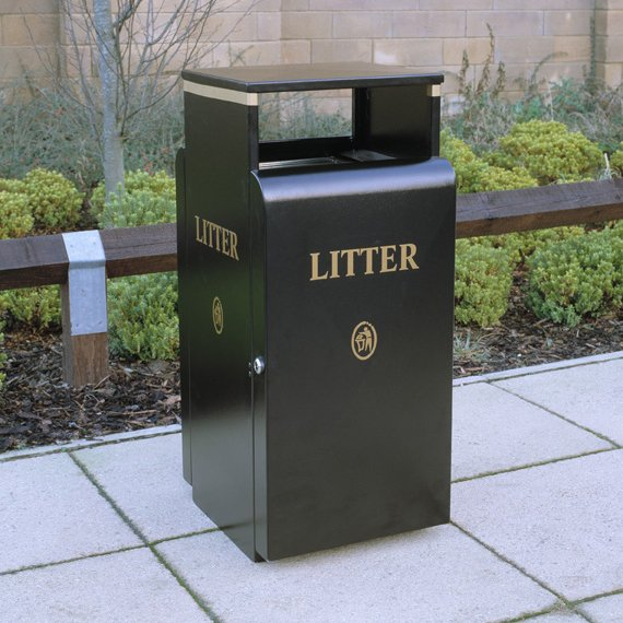 Valley 100L Square Powder Coated Steel Litter Bin For Public Areas And Parks