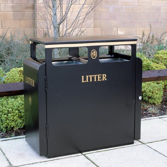 Valley 200L Square Powder Coated Steel Litter Bin For Public Areas And Parks