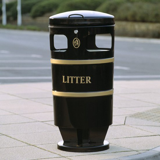 Knight 94L Round Powder Coated Steel Litter Bin For Public Areas And Parks