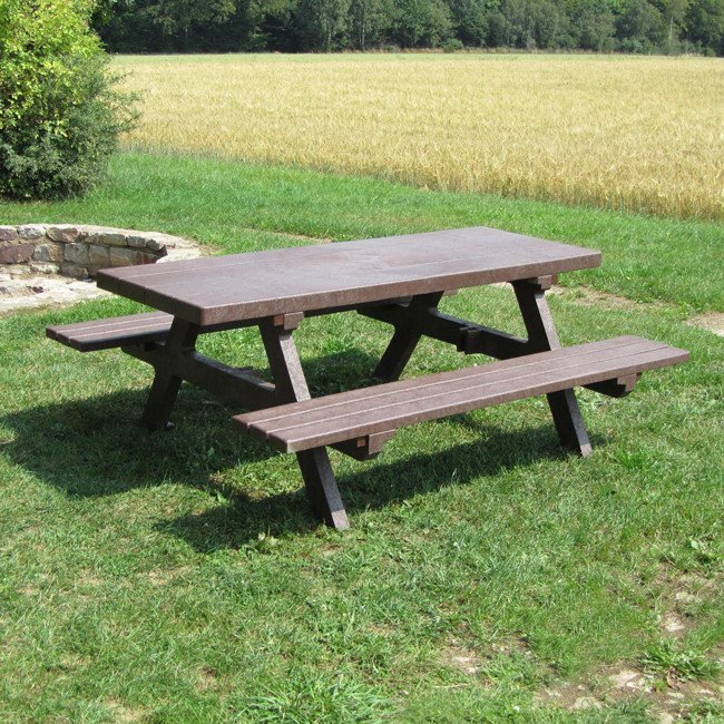 Adult Picnic Bench Surface Mounted In Recycled Brown Plastic - Park bench and table