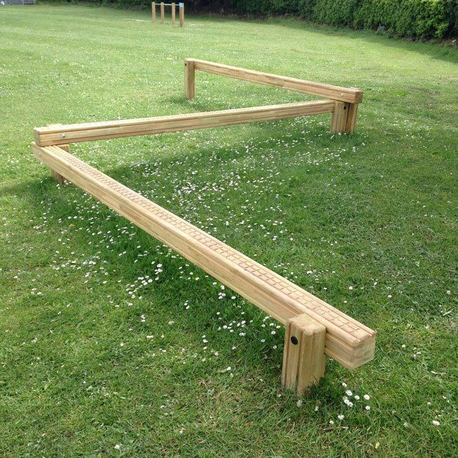 Triple Balance Beam Outdoor Fitness Station In Laminated