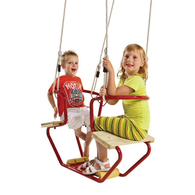 Double Childrens Swing Seat Complete With Adjustable Ropes