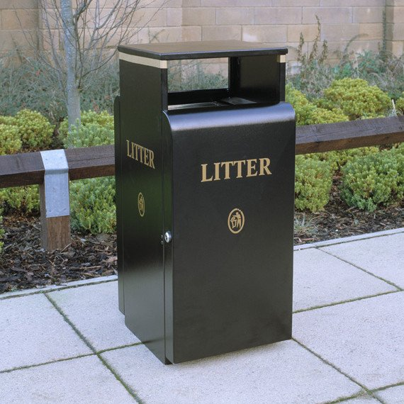 Valley 100l Square Powder Coated Steel Litter Bin For
