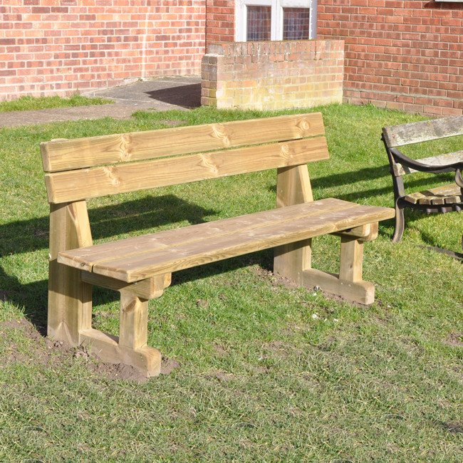 Natural Wooden Park Bench Pressure Treated Softwood