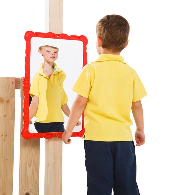 Children S Toy Haha Mirror With Red Frame Suitable For A Wendy House Or Any Garden Play