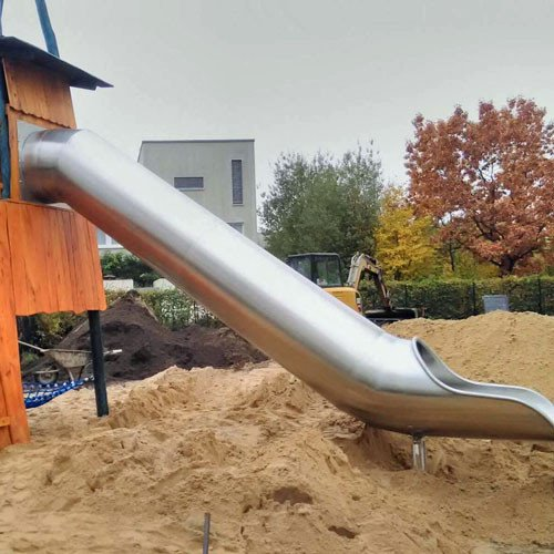 Children S Stainless Steel Platform Tube Slide Suitable For Attaching To A Play Tower Or Mound