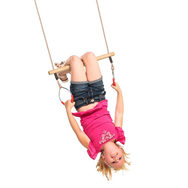 Wooden Trapeze With Soft Grip Rubber Coated Metal Rings On Adjustable Ropes Swing Parts