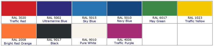 Standard Playground RAL Colour Chart